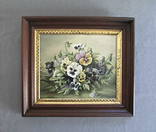 Antique 19th Century Oil Still Life Painting of Pansies