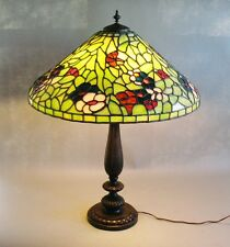 "Massive 24"" Bigelow & Kennard Stained Leaded Glass Lamp  c. 1910  Signed antique"