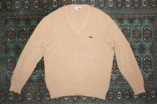 VTG 80s CHEMISE LACOSTE BEIGE V-NECK JUMPER SWEATER RETRO CASUALS MENS 4 M