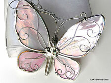 Stained Glass Pink Iridescent Butterfly sun catcher