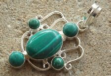 Handmade in India ~ silver plated malachite cabochon fancy design pendant