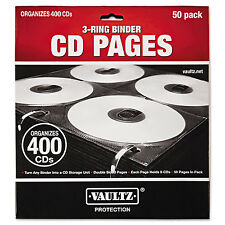 Vaultz Two-Sided CD Refill Pages for Three-Ring Binder 50/Pack VZ01415