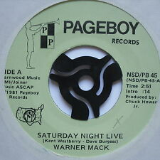 "WARNER MACK - Saturday Night Live - Excellent Condition 7"" Single Pageboy PB 45"