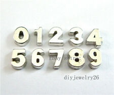 10pcs plain number Floating Charms Fits For Glass Living Memory Locket FC521