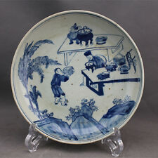 CHINESE OLD BLUE AND WHITE FIGURE PATTERN PORCELAIN PLATE