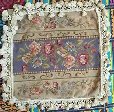 "Antique  French Aubusson Stayl Tapestry Decorative Cushion 17"" By 17"""