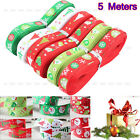 Hot Multi-Pattern 5 Meters 3/8''10mm Merry Christmas Tree Grosgrain Ribbon Decor