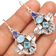 Sacred Angel Wings - Moonstone 925 Silver Earrings Jewelry SE137657