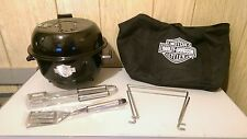 Harley Davidson Portable Charcoal BBQ Grill-Carrying Case - Fits In Saddle Bag