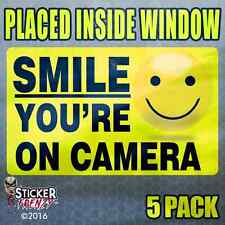 "5 Pk ""INSIDE"" SMILE YOU'RE ON CAMERA Stickers Video Alarm Security System Decal"