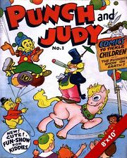 VINTAGE COVER PUNCH & JUDY COMIC BOOK ISSUE #1 PAINTING ART REAL CANVAS PRINT