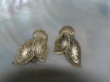 Vintage W. Germany Marked Lightweight Etched Ribbon Clip Earrings – signed on