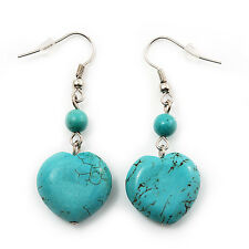 Romantic Turquoise Stone Heart Drop Earrings (Rhodium Plated Metal) - 4.5cm Leng