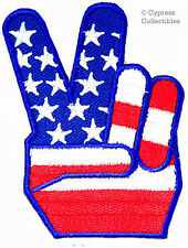 USA PEACE SIGN iron-on PATCH ANTI-WAR PROTEST FLAG LOGO embroidered V VICTORY