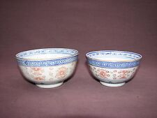 2 Vintage Chinese Porcelain Blue White Red Gold Dragon Rice Grain Bowls