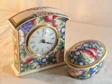 "Wedgwood Royal Doulton Mantle Clock "" Orchard Hill "" & matching Oval Box, Superb"