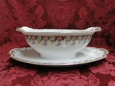 Noritake Beverly, #5162, Pink, White, Blue: Gravy Boat w/ Attached Underplate
