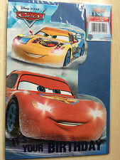 New Disney Cars Gift Wrap Set - 1 Paper 1 Tag 1 Birthday Card - Lightning Miguel