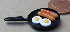 1:12 Scale Black Frying Pan 2cm Diameter With Breakfast Dolls House Miniature P6