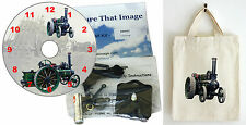 DIY CD Clock KIT. Steam Traction Engine in small canvas gift bag with Motif