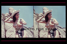 Cowgirl 3d stereoview topless nude woman female girl photo sexy busty model gun