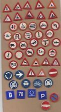 JOB LOT Vtg plastic TRAFFIC SIGN pin badges 1960s Modelling Train Car Miniature