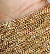 BULK 15 Feet 3x4mm GOLD Plated CURB Chain Necklace/Bracelet Findings