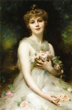 Art Oil painting charming young girl in white dress holding pink roses in forest