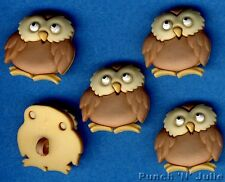 BABY OWL - Forest Babies Bird Barn Tawny Brown Animal Dress It Up Craft Buttons
