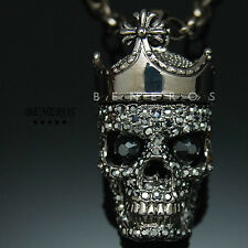 Crowned Skull King Pendant Necklace Swarovski Crystal Hip Hop Biker Mens Jewelry