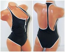 Victoria's Secret swimsuit racerback one piece black White sports surf Zipper M