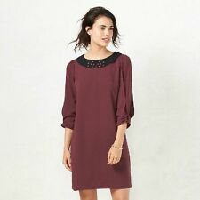 LC Lauren Conrad Women's Wine Bow Sleeve Embellished Shift Dress Size Small -NWT