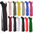 Womens Cap Sleeve Ladies Stretch Plain Side Split Full Long Maxi Bodycon Dress