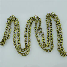 5PCS Nice 24 Inch Bronze Plated Chain Flat Curb Link 4mm Chain Necklace Making