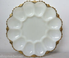 VINTAGE! POTTERY DEVILED EGGS SERVING DISH with gold plated rim white