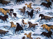 Cotton Quilt Fabric Horses in Snow BHY