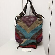 FOSSIL Long Live Vintage Leather WINSLET PatchWork SHOULDER Bag & WALLET