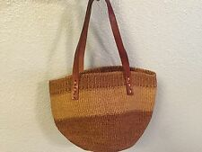 St Tropez Bali Mar Y Sol Star Mela Leather & Seagrass Straw Summer Tote Purse