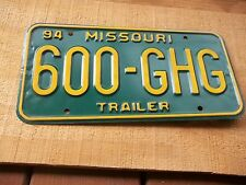 600 GHG  1994 Trailer Missouri Green & Yellow License Plate only one