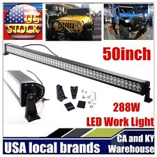 50inch 288W Straight LED WORK LIGHT BAR COMBO SPOT&FLOOD DRIVING OFFROAD BAR 4WD