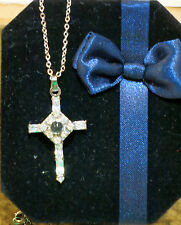 The LORD'S PRAYER CROSS NECKLACE CHILD w/ Austrian crystals Gift NEW IN GIFT BOX