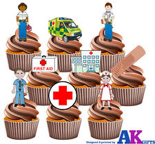 Medical Doctor Nurse Hospital Party Pack  -36 Edible Stand-up Cup Cake Toppers