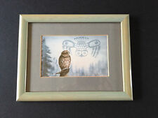 Sue Coleman watercolor PRINT signed framed owl coast west wildlife