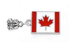 Canadian Flag Red Maple Leaf Canada Dangle Charm for European Bead Bracelets