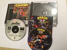 2 x pal PLAYSTATION 1 PS1 PSone GAMES Crash Bandicoot 1 + 2 Cortex Strikes Back