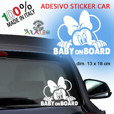 Sticker Baby on Board Minnie Mouse Disney Car Sticker Family Adesivo Auto Decal