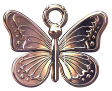 ONE STERLING SILVER BUTTERFLY CHARM / PENDANT, ROSE GOLD PLATED, 13 X 11 MM