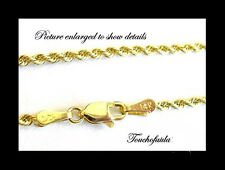 """14K Solid Yellow Gold 2mm Diamond Cut Rope 22"""" Chain with lobster clasp."""
