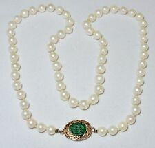 "17.5"" White Pearl & 14K Gold Necklace with Carved Chinese Green Jadeite Jade"