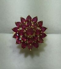 14k Solid Yellow Gold With Ring Natural Ruby Round & Pear Cut 4.98CT3.19GM